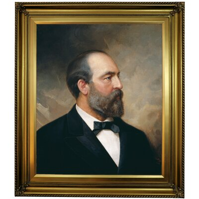 'Portrait of James Garfield; 20th President of the United States 1881' Framed Oil Painting Print on Canvas Format: Gold Framed, Size: 30