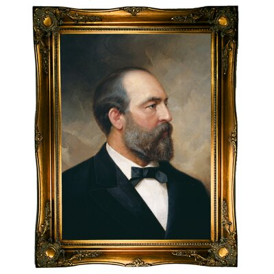 'Portrait of James Garfield; 20th President of the United States 1881' Framed Oil Painting Print on Canvas Format: Ornate gold Framed, Size: 31.5