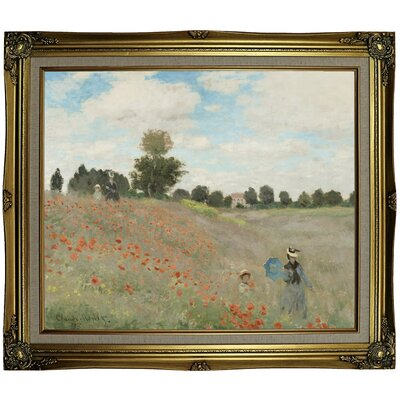 'Poppy Fields' by Claude Monet Framed Oil Painting Print on Canvas Format: Black Gold Framed, Size: 25.25