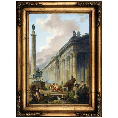 'Imaginary View of Rome with Equestrian Statue of Marcus Aurelius the Column of Trajan and a Temple 1786' Framed Oil Painting Print on Canvas Format: Antique Gold Framed, Size: 22.5