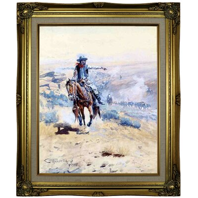 'Pointing Out the Trail' Framed Oil Painting Print on Canvas Format: Brown/Gold Framed, Size: 25.25