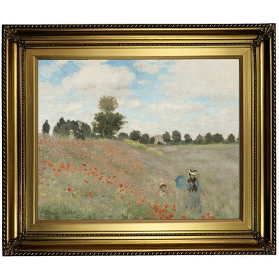 'Poppy Fields' by Claude Monet Framed Oil Painting Print on Canvas Format: Light Gold Framed, Size: 22