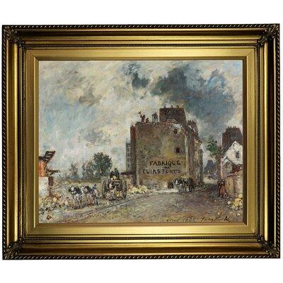 'Demolition work' Framed Oil Painting Print on Canvas Format: Dark Bronze Framed, Size: 22'' H x 26'' W x 1.5'' D