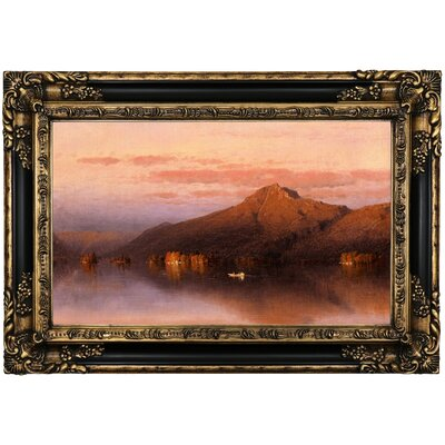 'Whiteface Mountain' Framed Oil Painting Print on Canvas Format: Brown Frame, Size: 17.25