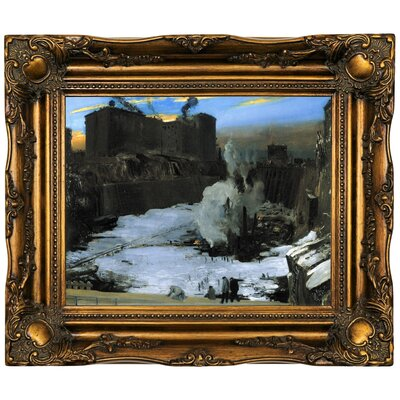 'Pennsylvania Station Excavation' Framed Oil Painting Print on Canvas Format: Brown Frame, Size: 16.5