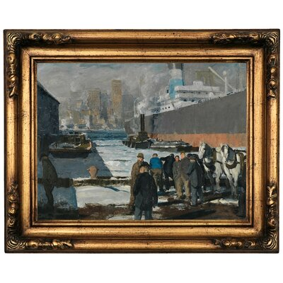 'Men of the Docks 1912' Framed Oil Painting Print on Canvas Format: Old Gold Framed, Size: 16.5
