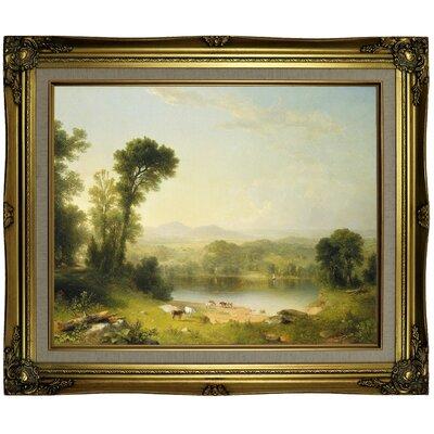 'Pastoral Landscape 1861' Framed Oil Painting Print on Canvas Format: Brown/Gold Framed, Size: 21.25