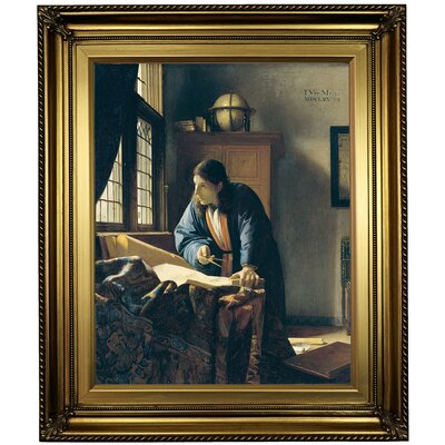 'The Geographer' by Johannes Vermeer Framed Oil Painting Print on Canvas Format: Light Gold Framed, Size: 26