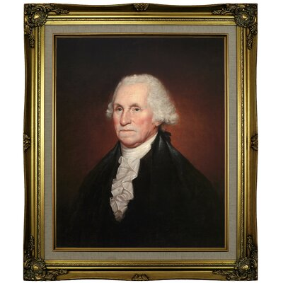 'George Washington 1795' Framed Oil Painting Print on Canvas Format: Brown/Gold Framed, Size: 25.25