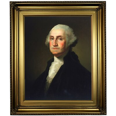 'George Washington 1854' Framed Oil Painting Print on Canvas Format: Light Gold Framed, Size: 26