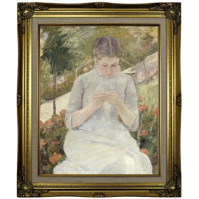 'Girl' Framed Oil Painting Print on Canvas Format: Brown/Gold Framed, Size: 25.25