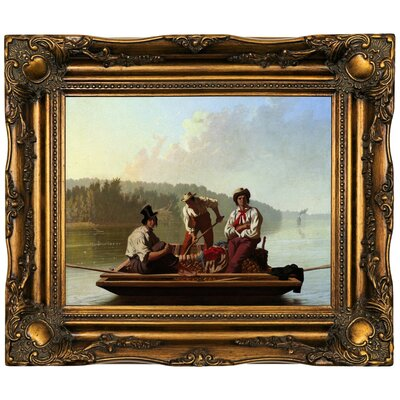 'Boatmen on the Missouri 1846' Framed Oil Painting Print on Canvas Format: Dark Brown Framed, Size: 16.5'' H x 19.5'' W x 2'' D