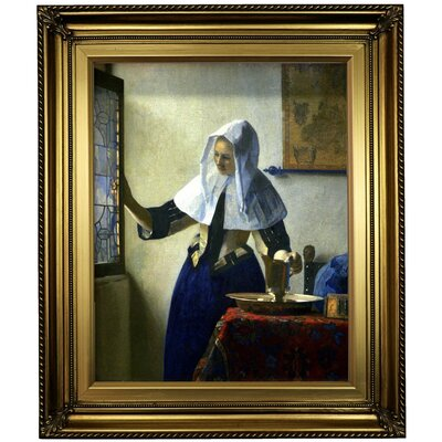 'Young Women with a Water Pitcher' by Johannes Vermeer Framed Oil Painting Print on Canvas in Gold Format: Light Gold Framed, Size: 26