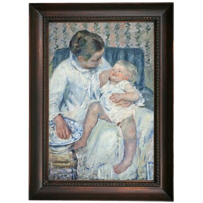 'Mother About to Wash Her Sleepy Child' by Mary Cassatt Framed Oil Painting Print on Canvas Format: Dark Brown Framed, Size: 21.5