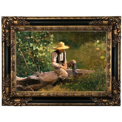 'The Whittling Boy' by Winslow Homer Framed Oil Painting Print on Canvas Format: Black Framed, Size: 17.25