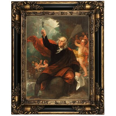 'Benjamin Franklin Drawing Electricity' Framed Oil Painting Print on Canvas Format: Black Frame, Size: 21.25