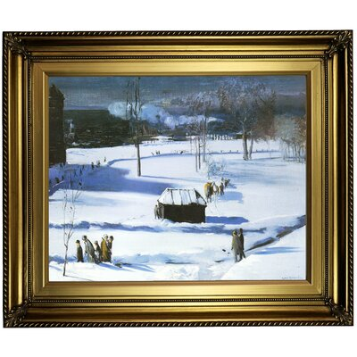 'Blue Snow, The Battery 1910' Framed Oil Painting Print on Canvas Format: Light Gold Framed, Size: 22'' H x 26'' W x 1.5'' D