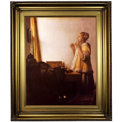 'Women with a Pearl Necklace' by Johannes Vermeer Framed Oil Painting Print on Canvas Format: Light Gold Framed, Size: 26