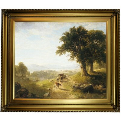 'River Scene 1854' Framed Oil Painting Print on Canvas Format: Gold Framed, Size: 26