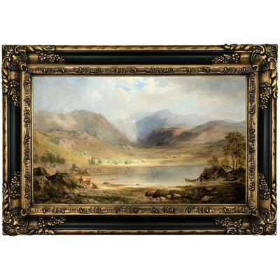 'Loch Long 1867' Framed Oil Painting Print on Canvas Format: Black/Gold Framed, Size: 17.25