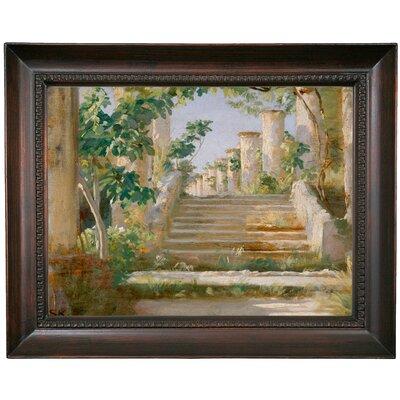 'Loggia' Framed Oil Painting Print on Canvas Format: Black Framed, Size: 15.5
