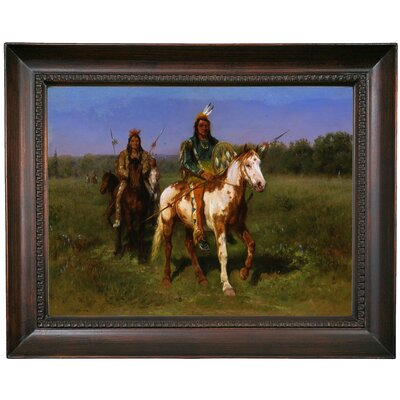 'Mounted Indians Carrying Spears 1890' Framed Oil Painting Print on Canvas Format: Dark Gray Framed, Size: 15.5