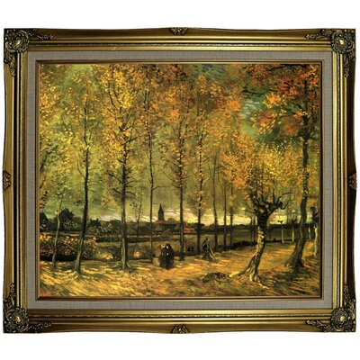 'Lane with Poplars' by Vincent van Gogh Framed Oil Painting Print on Canvas Format: Gray/Gold Framed, Size: 25.25