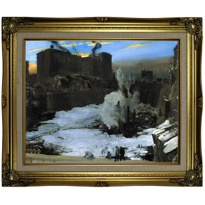 'Pennsylvania Station Excavation' Framed Oil Painting Print on Canvas Format: Gold Frame, Size: 21.25