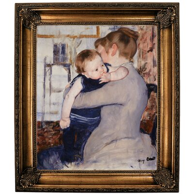 'Mother and Child' by Mary Cassatt Framed Oil Painting Print on Canvas Format: Bronze Framed, Size: 30.25