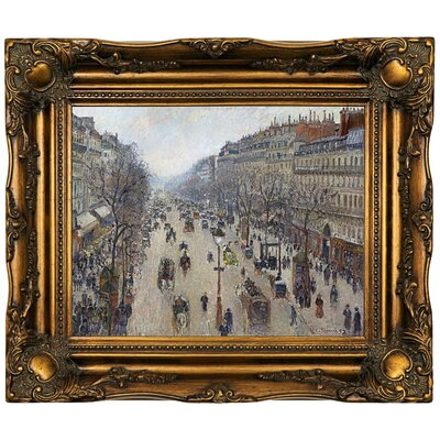 'Boulevard Montmartre, morning, cloudy weather 1897' by Camille Pissarro Framed Oil Painting Print on Canvas Format: Dark Brown Framed, Size: 16.5'' H x 19.5'' W x 2'' D