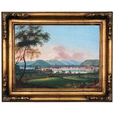 'Cincinnati From Behind Newport Barracks' Framed Oil Painting Print on Canvas Format: Gold Framed, Size: 16.5