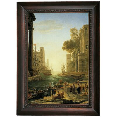 'Landscape with the Embarkment of Saint Paula Romana in Ostia' Framed Oil Painting Print on Canvas Format: Chocolate Brown Framed, Size: 21.5