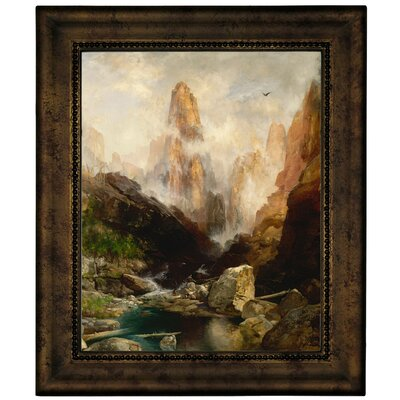 'Mist in Kanab Canyon, Utah' Framed Oil Painting Print on Canvas Format: Dark Gold Framed, Size: 12.75