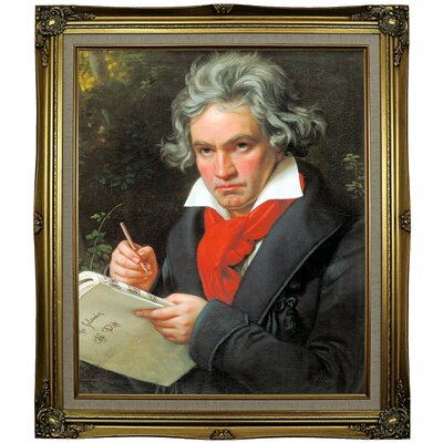 'Portrait of Ludwig van Beethoven When Composing the Missa Solemnis' Framed Oil Painting Print on Canvas Format: Black Gold Framed, Size: 29.25