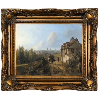'Monmartre' Framed Oil Painting Print on Canvas Format: Gold/Brown Frame, Size: 16.5