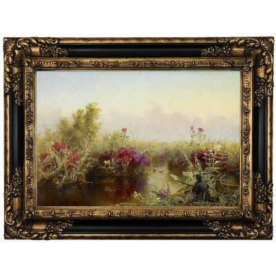 'Duck Hunting 1867' Framed Oil Painting Print on Canvas Format: Black Framed, Size: 17.25