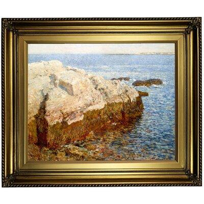'Cliff Rock Appledore 1903' Framed Oil Painting Print on Canvas Format: Dark Bronze Framed, Size: 22'' H x 26'' W x 1.5'' D