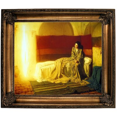 'The Annunciation' Framed Oil Painting Print on Canvas Format: Bronze Framed, Size: 26.25
