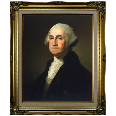 'George Washington 1854' Framed Oil Painting Print on Canvas Format: Brown/Gold Framed, Size: 25.25