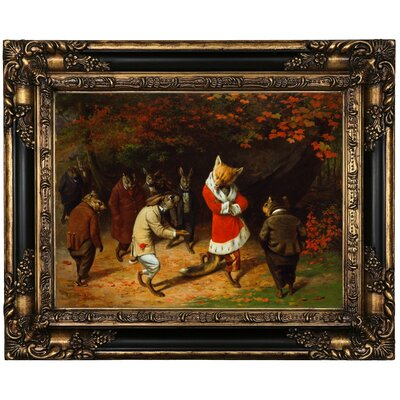 'His Majesty Receives 1885 Fox and Rabbits' Framed Oil Painting Print on Canvas Format: Peru Framed, Size: 17.25