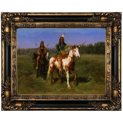 'Mounted Indians Carrying Spears 1890' Framed Oil Painting Print on Canvas Format: Peru Framed, Size: 17.25