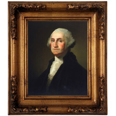 'George Washington 1854' Framed Oil Painting Print on Canvas Format: Antique Gold Framed, Size: 14.5