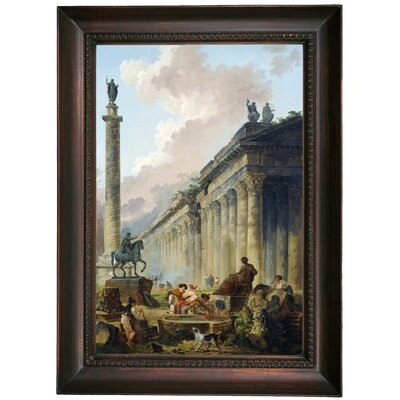 'Imaginary View of Rome with Equestrian Statue of Marcus Aurelius the Column of Trajan and a Temple 1786' Framed Oil Painting Print on Canvas Format: Dark Brown Framed, Size: 21.5