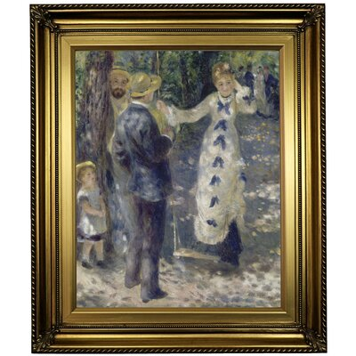 'The Swing 1876' by Pierre-Auguste Renoir Framed Oil Painting Print on Canvas Format: Light Gold Framed, Size: 26