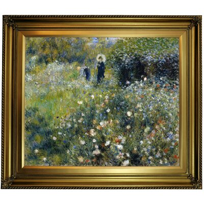 'Woman with a Parasol in a Garden 1875' by Pierre-Auguste Renoir Framed Oil Painting Print on Canvas Format: Gold Framed, Size: 26