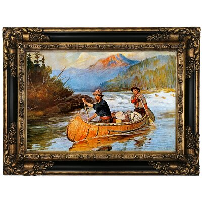 'In Strange Waters' Framed Oil Painting Print on Canvas Format: Brown Frame, Size: 17.25