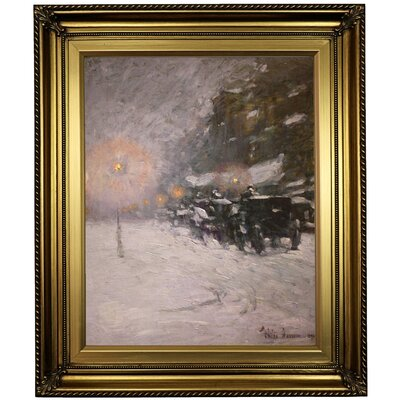 'Winter; Midnight 1894' Framed Oil Painting Print on Canvas Format: Light Gold Framed, Size: 26