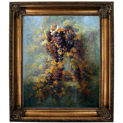 'Grapes and Architecture 1907'  Framed Oil Painting Print on Canvas Format: Bronze Framed, Size: 30.25