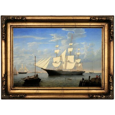 'The Ship Starlight' Framed Oil Painting Print on Canvas in Gold Format: Antique Gold Framed, Size: 16.5