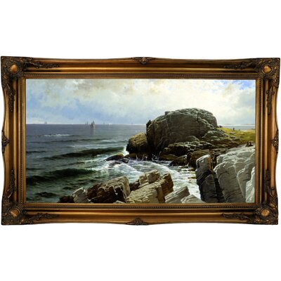 'Castle Rock, Marblehead 1878' Framed Oil Painting Print on Canvas Format: Dark Gold Framed, Size: 24.5'' H x 40.5'' W x 2'' D